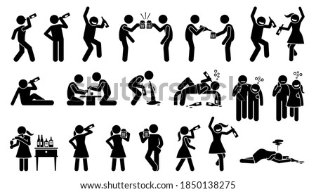 Alcoholic man and woman drinking booze until drunk. Vector illustrations of drunkard and alcoholic intoxication from beer, wine, whiskey, and hard liquor.  ストックフォト ©