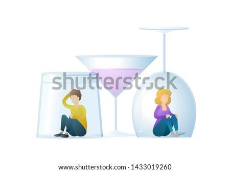 Alcoholism metaphor flat vector illustration. Sad man and woman sit under wine glasses cartoon characters. Alcohol beverages abuse, liquor dependence. Social problem, bad habit, drug addiction. Stock foto ©