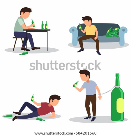 Alcoholism risks, danger from boozing icons set. Effect of alcohol abuse, alcoholic concept.  Isolated. Vector. Man with beer bottles set