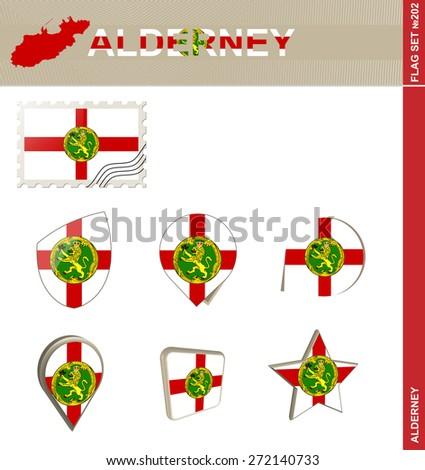 Alderney Flag Set, Flag Set #202. Vector.
