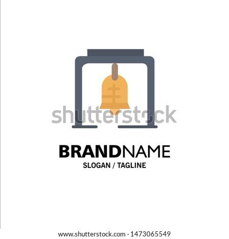 Alert, Bell, Christmas Bell, Church Bell Business Logo Template. Flat Color