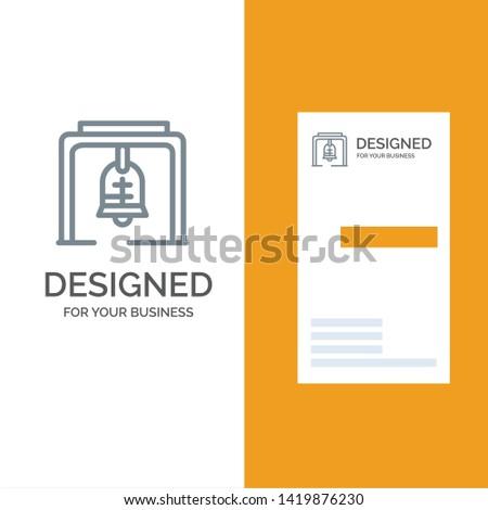 Alert, Bell, Christmas Bell, Church Bell Grey Logo Design and Business Card Template