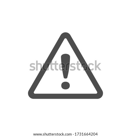 Alert icon, triangle shape with exclamation mark. Warning attention sign.