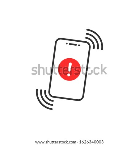 alert message in thin line phone. flat linear trend modern logotype graphic design isolated on white background. concept of red hazard or beware now on device display and phishing attack or malware