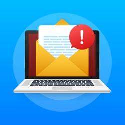 Alert message laptop notification. Danger error alerts, laptop virus problem or insecure messaging spam problems notifications. Vector illustration.