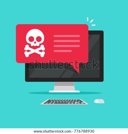 Alert notification on desktop computer vector, malware concept, spam data on pc display, fraud internet error, insecure connection, online scam, virus message