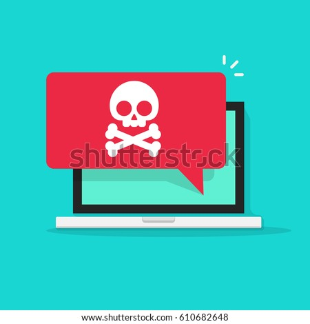Alert notification on laptop computer vector, malware concept, spam data, fraud internet error, insecure connection, online scam, virus