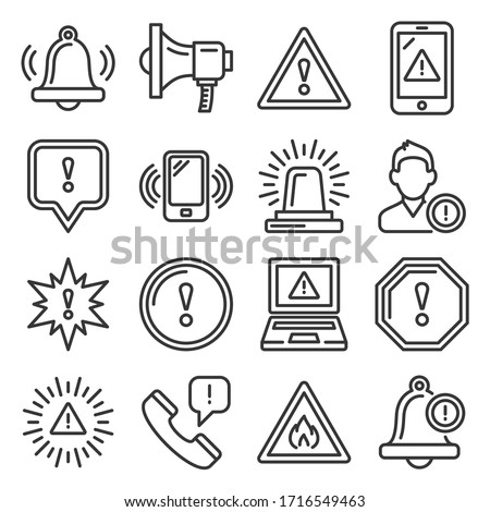 Alert Warning Ntification Icons Set on White Background. Line Style Vector