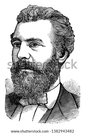 Alexander Graham Bell, 1847-1942, he was scientist, engineer and inventor of the Telephone, and founder of Bell Canada, vintage line drawing or engraving illustration