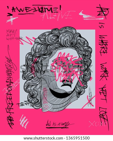 Alexander the great sculpture. Creative modern pink calligraphy poster. T-Shirt Design & Printing, clothes, bags, posters, invitations, cards, leaflets etc. Vector illustration hand drawn.
