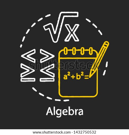 Algebra chalk concept icon. Algebraic equations, more and less sign. Advancing calculations, learning advanced algebra, complicated math problem idea. Vector isolated chalkboard illustration Foto stock ©
