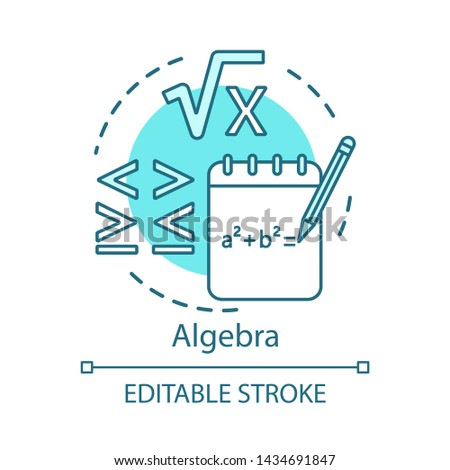 Algebra concept icon. Advanced calculations, learning advanced algebra idea thin line illustration. Algebraic equations, more and less sign.  Vector isolated outline drawing. Editable stroke