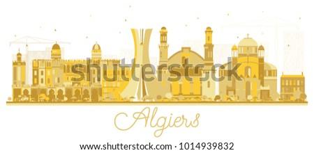 Algiers Algeria City Skyline Golden Silhouette. Vector Illustration. Simple Flat Concept for Tourism Presentation, Banner, Placard or Web Site. Algiers Cityscape with Landmarks.