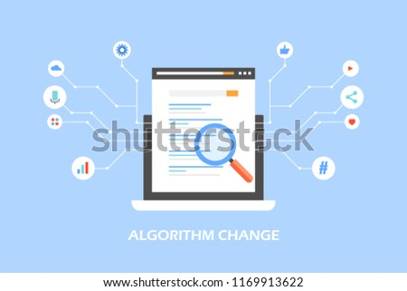 Algorithm change, update, search engine algorithm signals flat design vector concept with icons on blue background