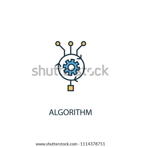 Algorithm concept 2 colored line icon. Simple yellow and blue element illustration. Algorithm concept outline symbol design from Artificial Intelligence set. Can be used for web and mobile UI/UX
