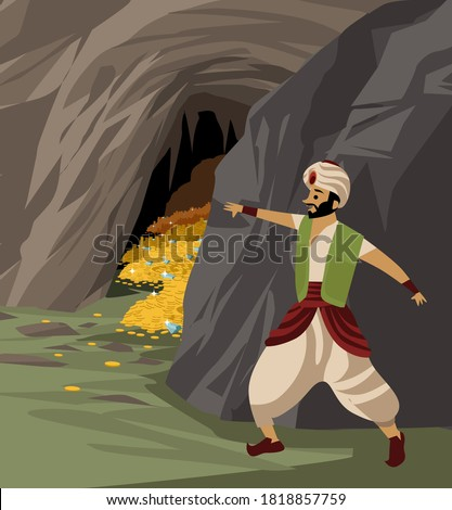 ali baba and the hidden treasure inside a cave tale Stockfoto ©