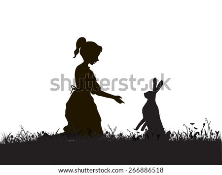 alice  girl and hare on the