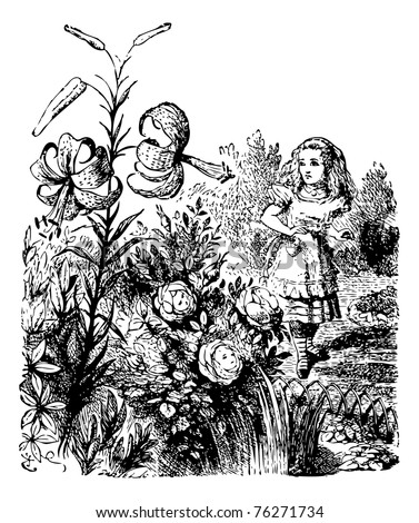Alice in the Garden of Live Flowers - Through the Looking Glass original book engraving. Alice is standing in the garden where she is astonished to notice that the flowers (which have faces) can talk.
