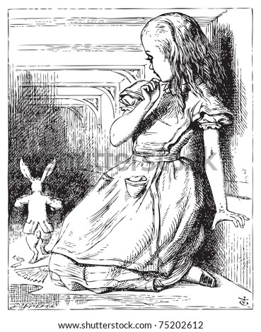 Alice in Wonderland. Alice grown big looking at the White Rabbit returning, splendidly dressed. Alice's Adventures in Wonderland. Illustration from John Tenniel, published in 1865.