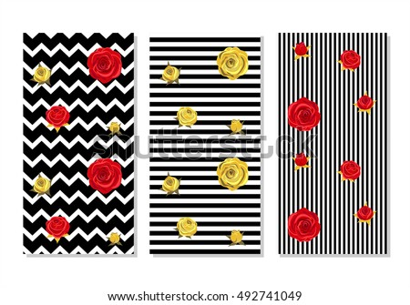 Alice in wonderland background. Red  roses and golden roses on  geometrical striped background. Set of  seamless patterns, backgrounds,  wallpaper.