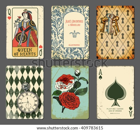alice in wonderland cards   set