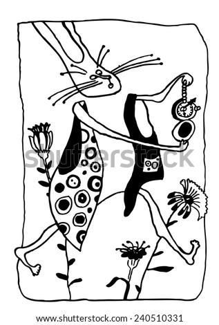 alice in wonderland hand drawn