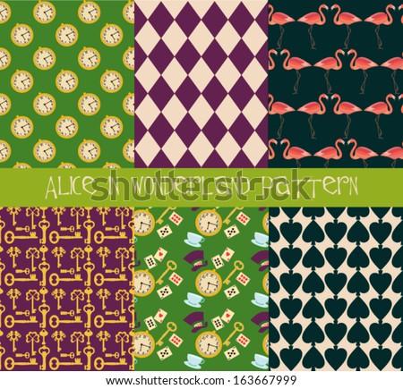 Alice in Wonderland seamless pattern