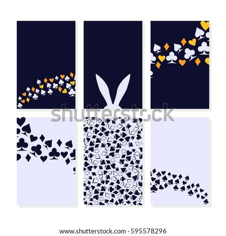 Alice in Wonderland. Set of card. Background. Vector illustration