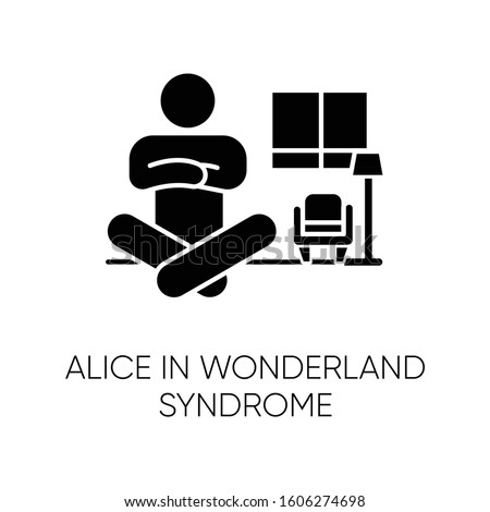 Alice in wonderland syndrome glyph icon. Visual perception. Size distortion. Dysmetropsia, disorientation. Rare mental disorder. Silhouette symbol. Negative space. Vector isolated illustration