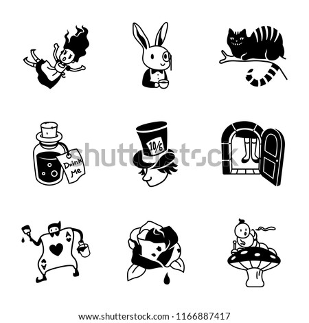 alice in wonderland vector icons
