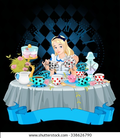 alice pours a cup of tea from