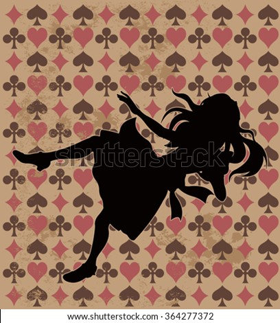 alice silhouette on wonderland