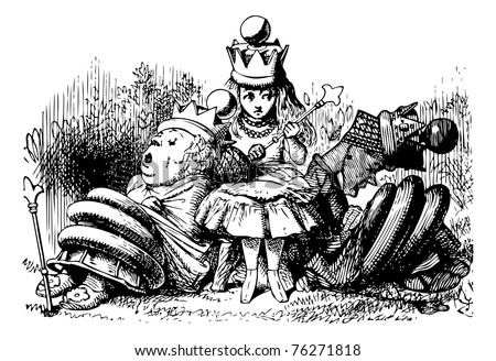 Alice with the Sleeping Queens - Through the Looking Glass and what Alice Found There original book engraving.