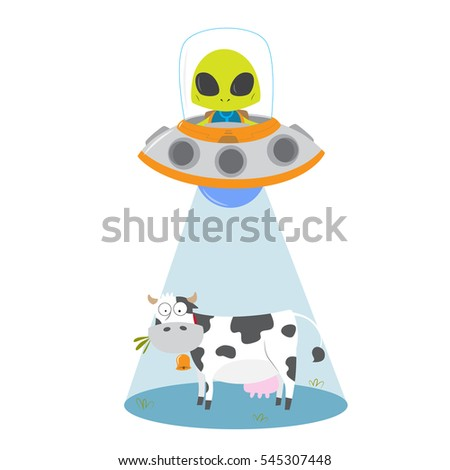 alien abducting cow with ufo