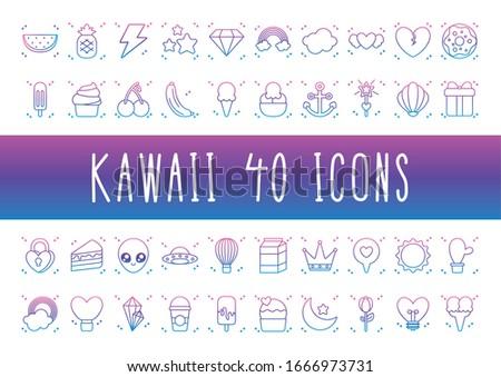 alien and kawaii icon set over