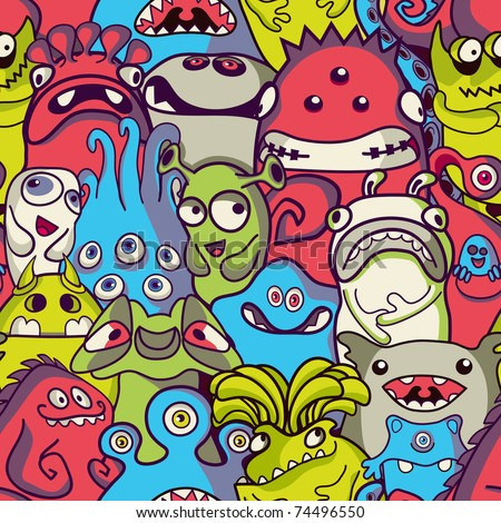 Alien and monsters seamless pattern