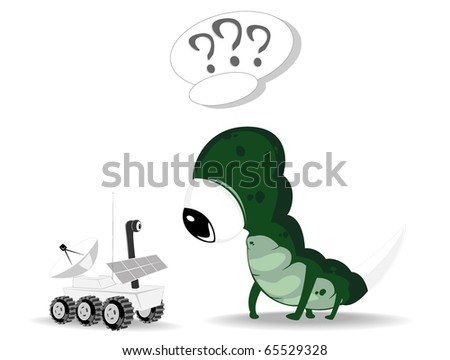 alien and rover. vector illustration