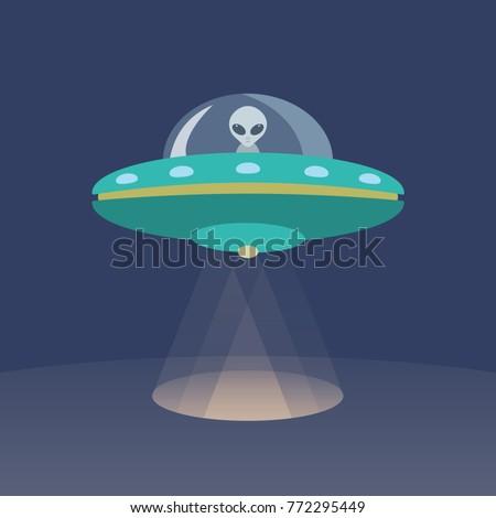 Alien and UFO Cartoon Flat Design