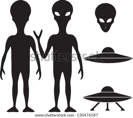 Alien and UFO silhouette set