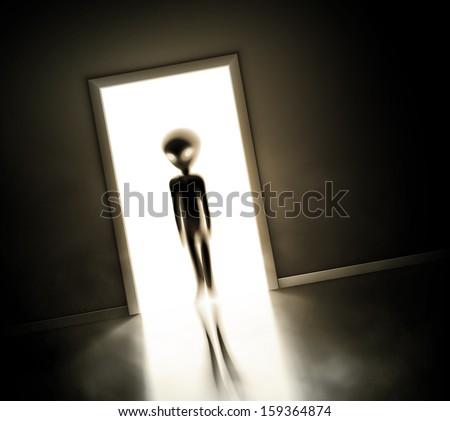 alien at door  eps 10