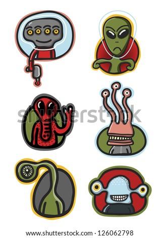 alien avatar set - stock vector