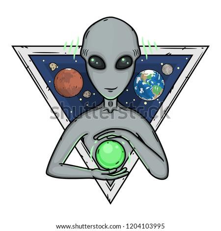 Alien. Cartoon alien. Grey alien. Alien logo. Greys.