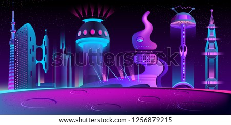 Alien city cartoon vector in neon colors with fantastic futuristic skyscrapers and fancy shape buildings on planet surface with craters illustration. Extraterrestrial civilization, future space colony