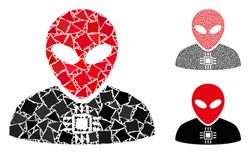Alien cyborg mosaic of trembly pieces in variable sizes and color hues, based on alien cyborg icon. Vector trembly pieces are composed into mosaic. Alien cyborg icons collage with dotted pattern.