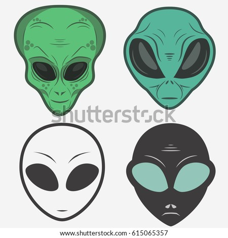 alien face icon set  humanoid