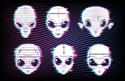 Alien faces or heads with digital glitch effects vector set of UFO and space design. Martian alien emojis of extraterrestrial monsters with big eyes and ears, neon emoticons of alien space invaders