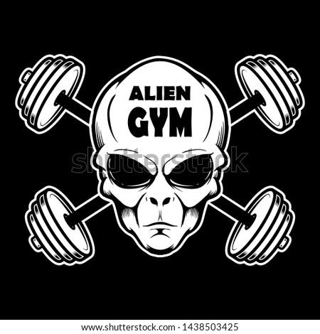 Alien gym. Alien head with crossed barbells. Design element for poster, banner, t shirt, emblem. Vector illustration