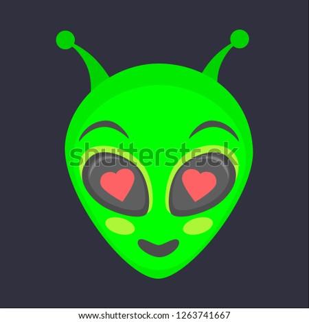 Alien head. Alien face emoji. Humanoid icon vector illustration