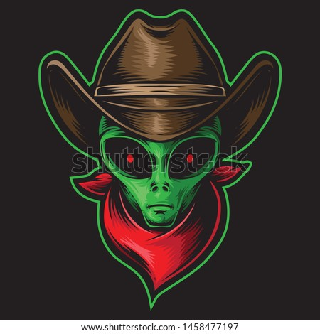 alien head cowboy vector logo