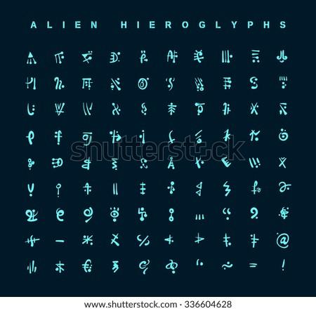 alien hieroglyphs symbols, vector illustration.